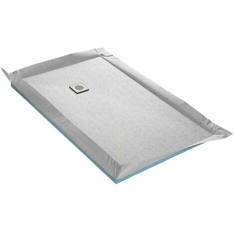 Receveur à carreler 100 x 200 cm FLATBOARD 4 pentes avec natte étanche et siphon ultra plat Excentré - Excentré