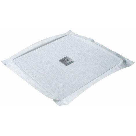 Receveur à carreler 120 x 120 cm COMPACTBOARD 4 pentes avec natte étanche et siphon ultra plat Centré - Centré
