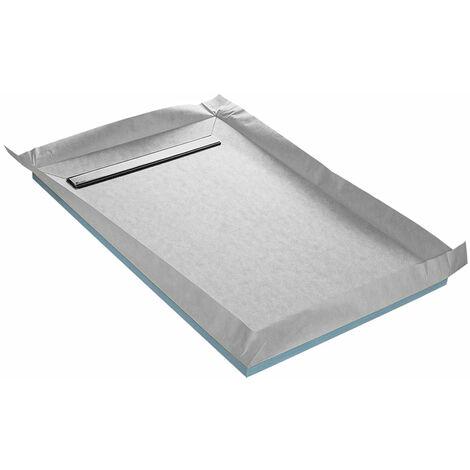 Receveur à carreler 120 x 120 cm LINEBOARD 4 pentes avec natte étanche et siphon ultra plat