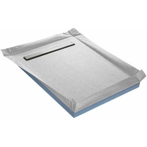 Receveur à carreler 90 x 120 cm COMPACT LINEBOARD 4 pentes avec natte étanche et siphon ultra plat
