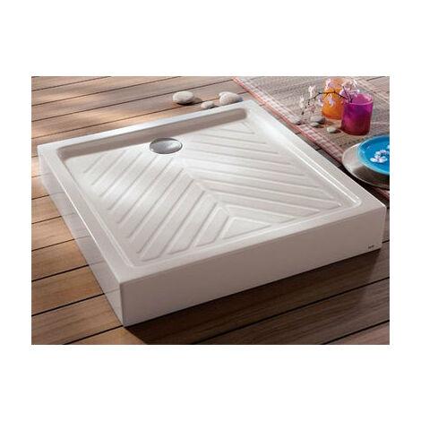 Receveur a poser carre GEBERIT, sureleve, extra-plat PRIMA devient RENOVA 90 x 90 cm, ceramique, blanc Ref. 00717100000