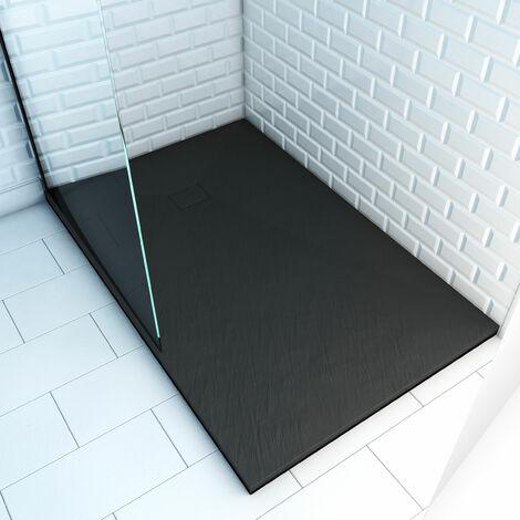 Receveur à poser en matériaux composite SMC - Finition ardoise noire - ROCK 2 BLACK