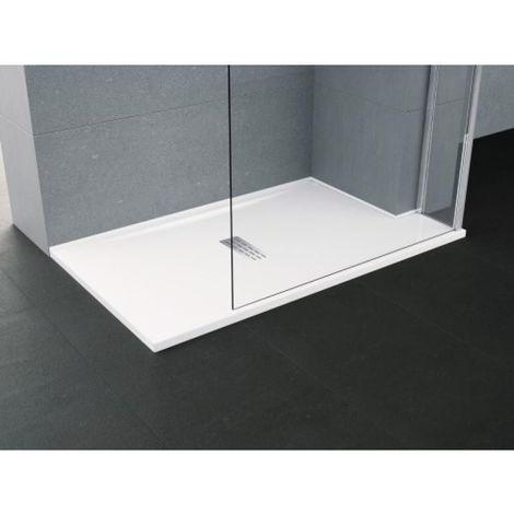 Receveur acrylique blanc renforcé et redécoupable Custom 120 x 80 cm (ép. 3,5 cm) avec bonde inspectable à grille Inox