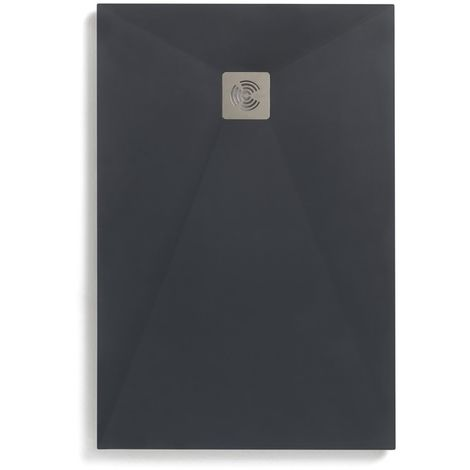 Receveur Ancodesign anthracite texture textile - Anconetti - 120x80x3cm - Fourni avec bonde de Ý90 - Gris anthracite