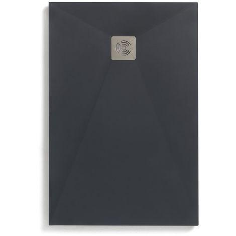 Receveur Ancodesign anthracite texture textile - Anconetti - 160x90x3cm - Fourni avec bonde de Ý90 - Gris anthracite