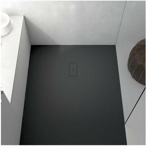 Receveur de douche 100 x 130 cm extra plat FUSION en résine surface ardoisée noir