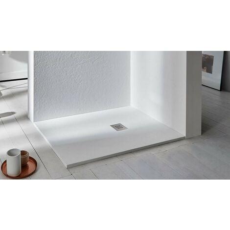Receveur de douche 100x80 cm en résine Aura | Blanc