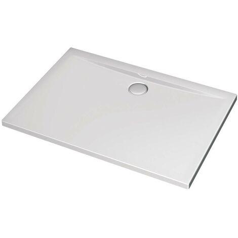 Receveur de douche 120X80 cm rectangulaire en acrylique Ideal Standard Ultraflat avec trou d'évacuation Ø90 mm   Blanc