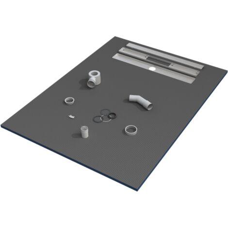 Receveur de douche 150x90x3 cm écoulement linéaire prêt à carreler avec siphon + Grille en inox