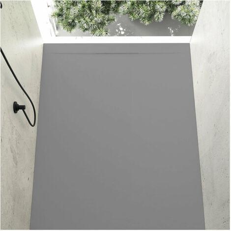 Receveur de douche 70 x 130 cm extra plat COVER en résine surface ardoisée béton