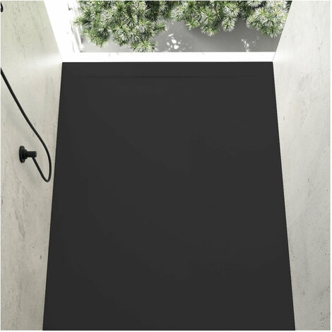Receveur de douche 70 x 190 cm extra plat COVER en résine surface ardoisée noir - Noir
