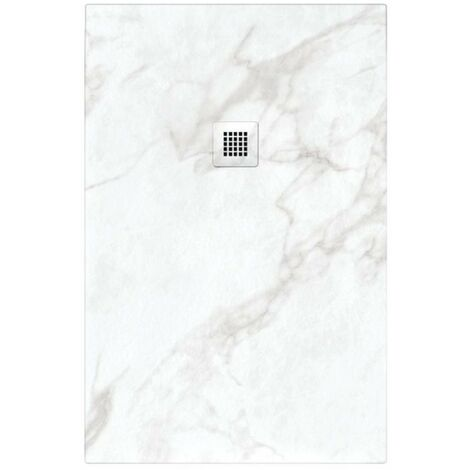 Receveur de douche 70x140 cm extra plat NATUR en résine finition Marbre blanc - Blanc