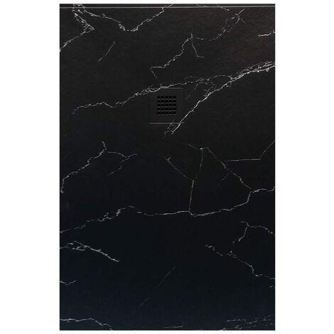 Receveur de douche 70x170 cm extra plat NATUR en résine finition Marbre noir