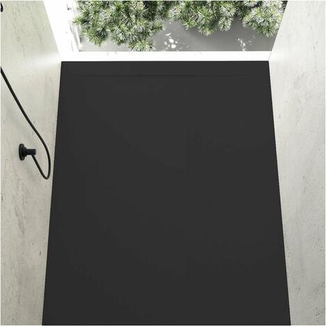 Receveur de douche 80 x 110 cm extra plat COVER en résine surface ardoisée noir - Noir