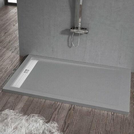 Receveur de douche 80 x 110 cm extra plat ELITE en résine surface ardoisée béton
