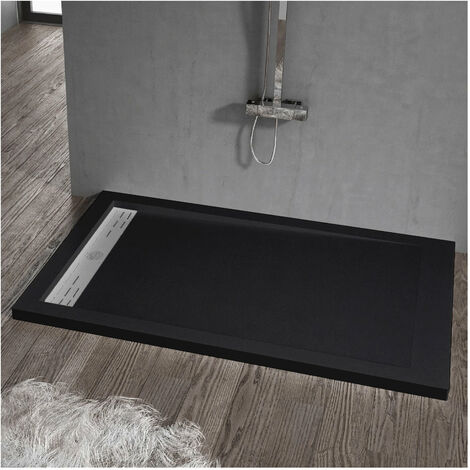 Receveur de douche 80 x 110 cm extra plat ELITE en résine surface ardoisée noir - Noir