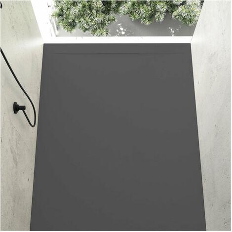 Receveur de douche 80 x 140 cm extra plat COVER en résine surface ardoisée anthracite