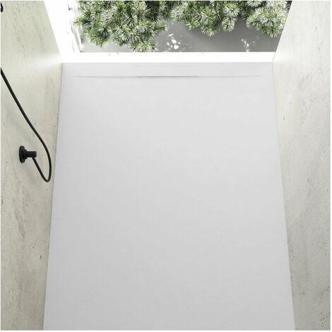 Receveur de douche 80 x 140 cm extra plat COVER en résine surface ardoisée blanc - Blanc