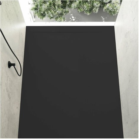 Receveur de douche 80 x 140 cm extra plat COVER en résine surface ardoisée noir - Noir