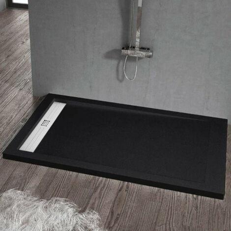 Receveur de douche 80 x 140 cm extra plat ELITE en résine surface ardoisée noir - Noir