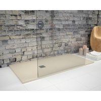 Receveur de douche 80 x 180 cm extra plat STRATO surface ardoisée, rectangulaire beige