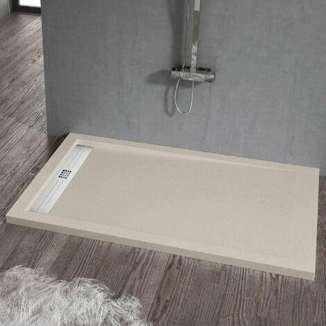 Receveur de douche 80 x 190 cm extra plat ELITE en résine surface ardoisée sable