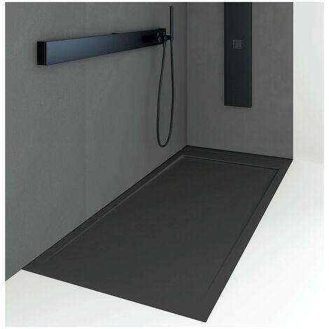 Receveur de douche 80 x 190 cm extra plat QUORE en résine surface ardoisée noir