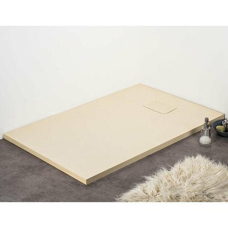 Receveur de douche 80 x 80 cm extra plat PIATTO en SoliCast®surface ardoisée, carré beige