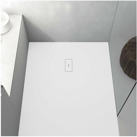 Receveur de douche 80 x 90 cm extra plat FUSION en résine surface ardoisée blanc - Blanc