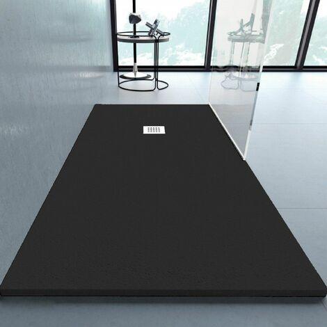 Receveur de douche 80x210cm extra plat ANDERSON en résine surface ardoisée noir