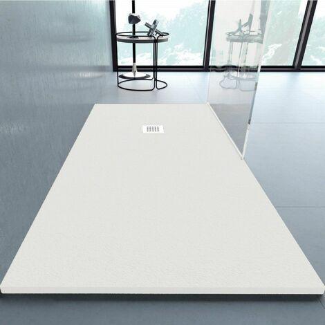 Receveur de douche 80x90cm extra plat ANDERSON en résine surface ardoisée blanc - Blanc