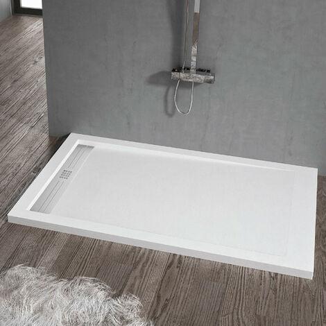 Receveur de douche 90 x 100 cm extra plat ELITE en résine surface ardoisée blanc - Blanc