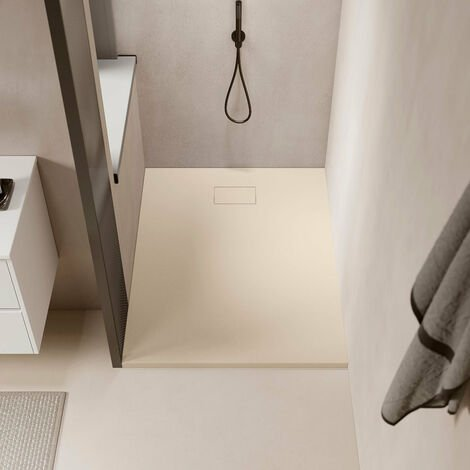 Receveur de douche 90 x 140 cm extra plat PIATTO en SoliCast® surface ardoisée rectangulaire beige - Beige