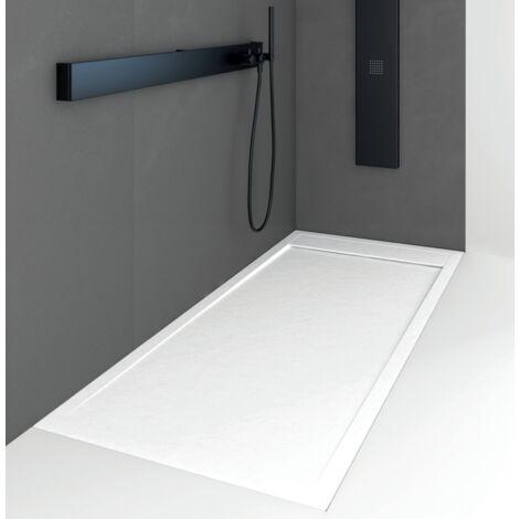 Receveur de douche 90 x 180 cm extra plat QUORE en résine surface ardoisée blanc