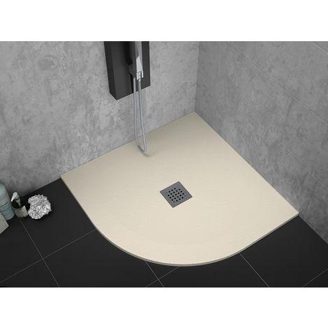 Receveur de douche 90 x 90 cm extra plat STRATO surface ardoisée semi-circulaire beige - Beige