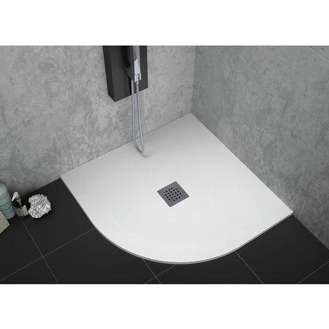 Receveur de douche 90 x 90 cm extra plat STRATO surface ardoisée semi-circulaire blanc - Blanc
