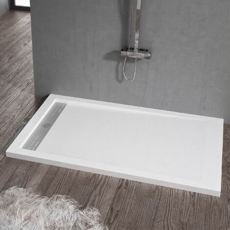 Receveur de douche 90x160cm extra plat ELITE en résine surface ardoisée blanc - Blanc