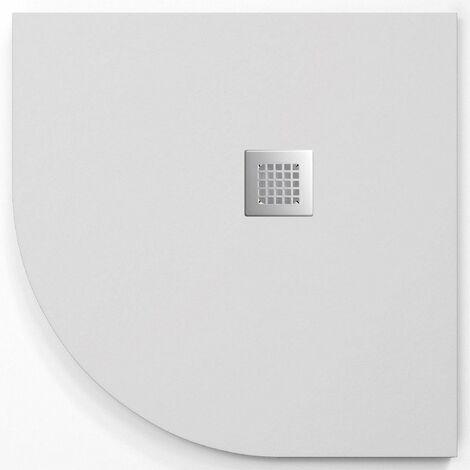 Receveur de douche 90x90 cm quart de cercle ANDERSON CURVE en résine surface ardoisée Blanc - Blanc