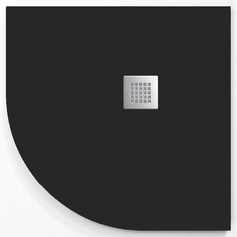 Receveur de douche 90x90 cm quart de cercle ANDERSON CURVE en résine surface ardoisée Noir