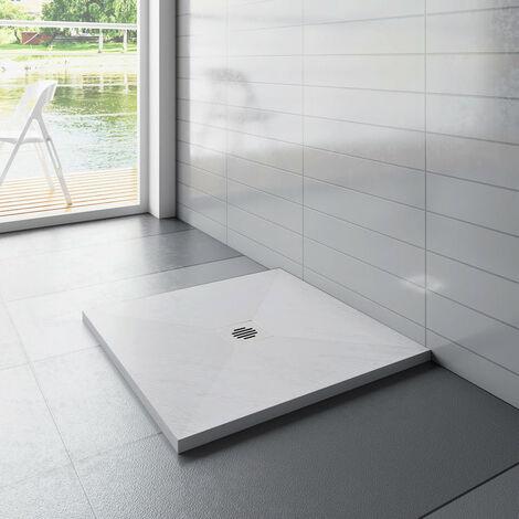 """main image of """"receveur de douche 90x90cm carré Extra plat Blanc antiderapant avec une grille en Inox"""""""