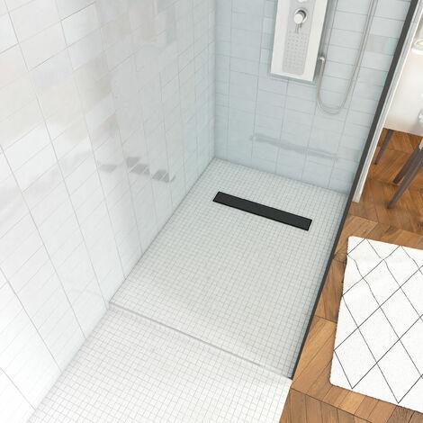 Receveur de douche à carreler 80x120cm - bonde caniveau noir mat - recoupable pour douche à l'italienne- DARK RAINY LINEAR 120