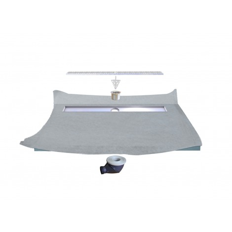 Receveur de douche à carreler à écoulement Linéaire 120 x 120 avec natte étanche