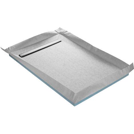 Receveur de douche à carreler caniveau 4 pentes 120 x 90 cm + natte étanche + siphon ultra plat