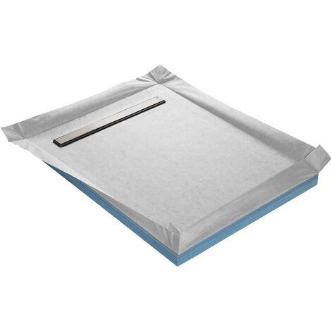 Receveur de douche à carreler compact caniveau 100 x 100 cm x 67 mm + natte étanche + siphon ultra plat