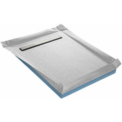 Receveur de douche à carreler compact caniveau 90 x 90 cm x 67 mm + natte étanche + siphon ultra plat