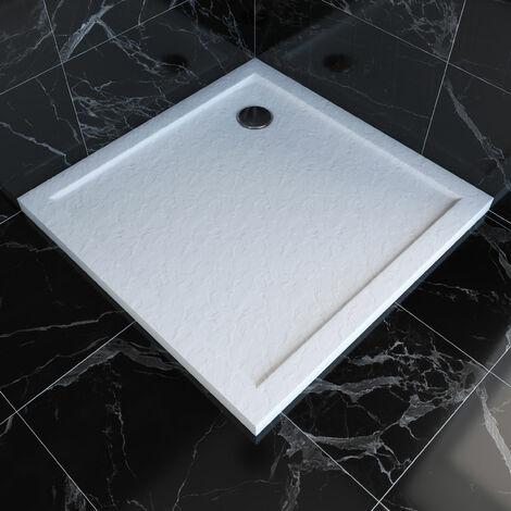 Receveur de douche à poser carré en acrylique renforcée blanc – finition PIERRE - MOON SQUARE