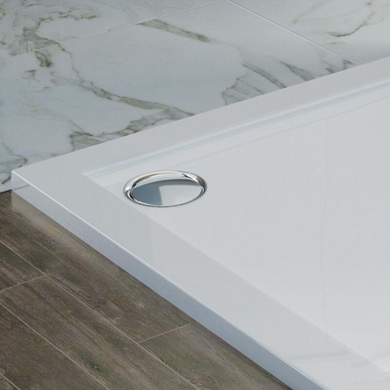 Receveur de Douche 80x90x4cm Rectangle Acrylique avec Bordures Blanc Brillant Mod Flower
