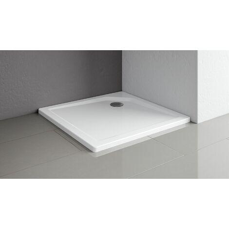 Receveur de douche acrylique, carré, extra plat, à poser ou à encastrer, avec pieds, Schulte, 90 x 90 x 3,5 cm
