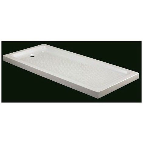 Receveur de douche acrylique rectangulaire 130x 80 cm blanc bonde d'évacuation fournie - Blanc