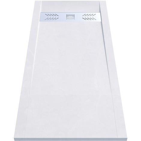 Receveur de douche blanc découpable 3.5cm CELEST - 180x80cm